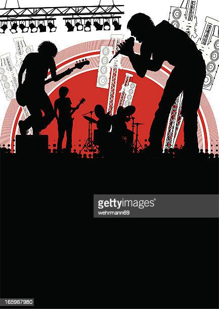 band on stage - lead singer stock illustrations