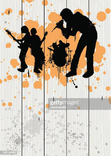 band on timber fence - bass instrument stock illustrations, clip art, cartoons, & icons