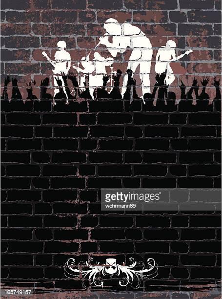 ilustraciones, imágenes clip art, dibujos animados e iconos de stock de banda en pared - bajo eléctrico