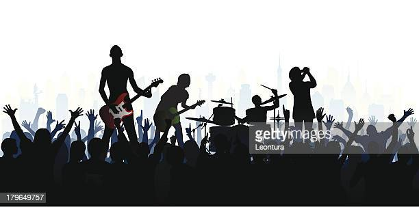 band (each person is complete, clipping path hides the legs) - music festival stock illustrations