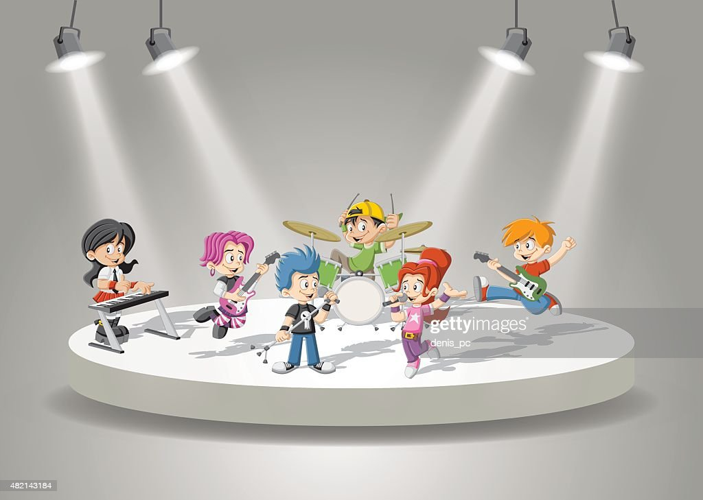 Band with cartoon children