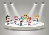 Band with cartoon children