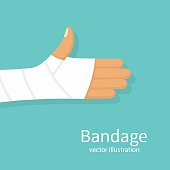 Bandage on hand human