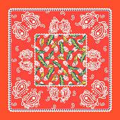 Bandana red silk scarf paisley vector design