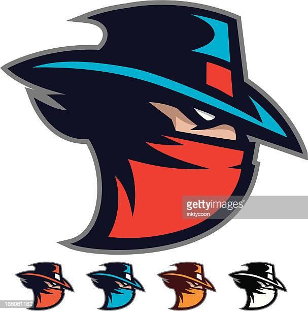 bandit mascot - cowboy hat stock illustrations, clip art, cartoons, & icons