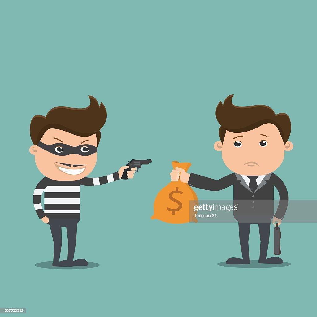Bandit threatens with a gun to business man.