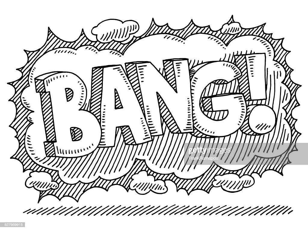 bang comic text smoke drawing vector art