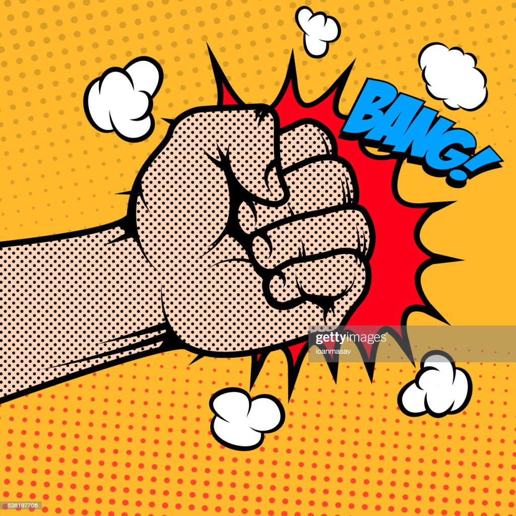 Bang. Human fist in pop art style. Design element