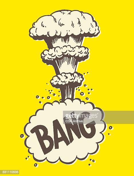 bang mushroom cloud - atom stock illustrations