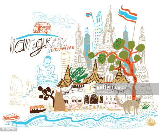bangkok in thailand asia - thailand stock illustrations