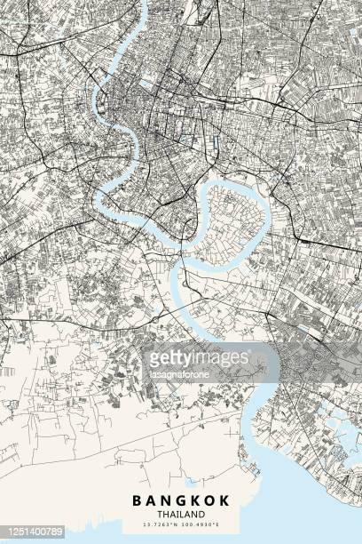 bangkok, thailand vektor karte anzeigen - thailand stock-grafiken, -clipart, -cartoons und -symbole