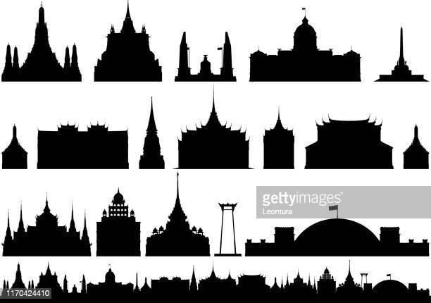 bangkok (all buildings are complete and moveable) - wat pho stock illustrations