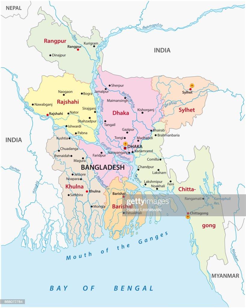 Bangladesh administrative and political map