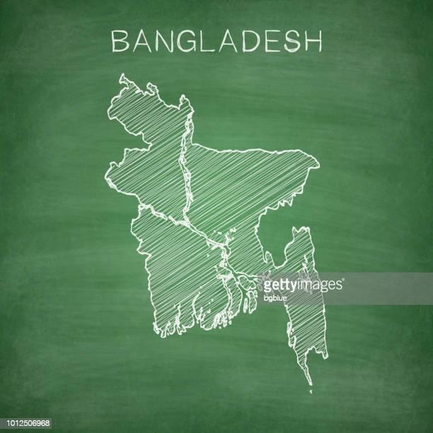 stockillustraties, clipart, cartoons en iconen met bangladesh kaart getrokken op schoolbord - krijtbord - bangladesh