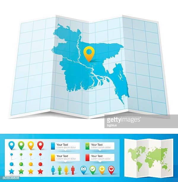 illustrazioni stock, clip art, cartoni animati e icone di tendenza di bangladesh mappa con perni di posizione, isolato su sfondo bianco - bangladesh