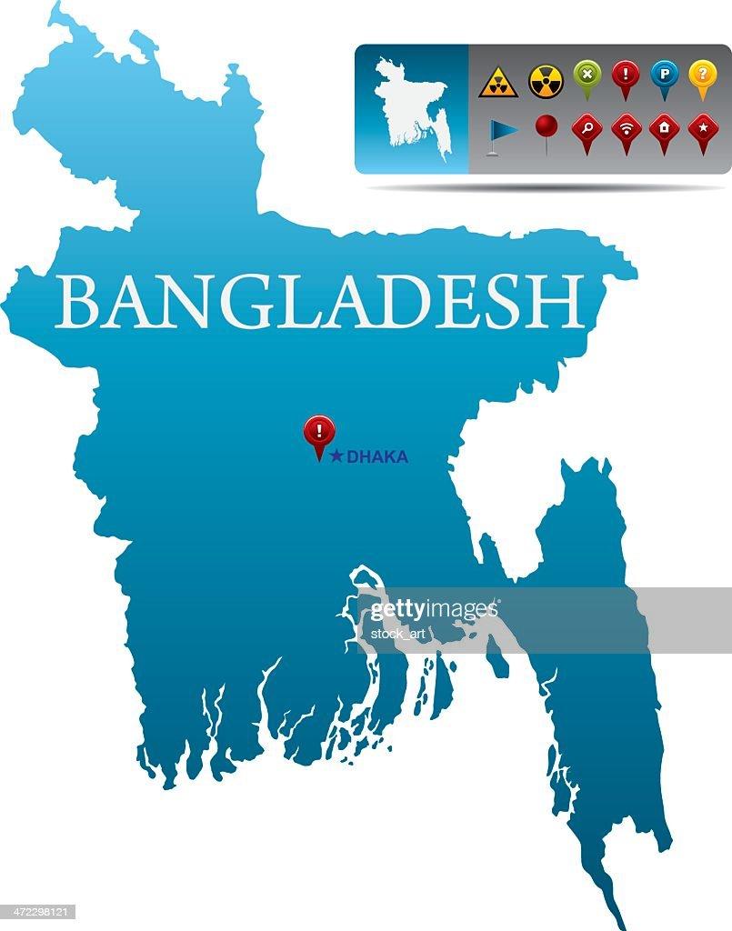 Bangladesh Map With Navigation Icons Vector Art Getty Images - Bangladesh map
