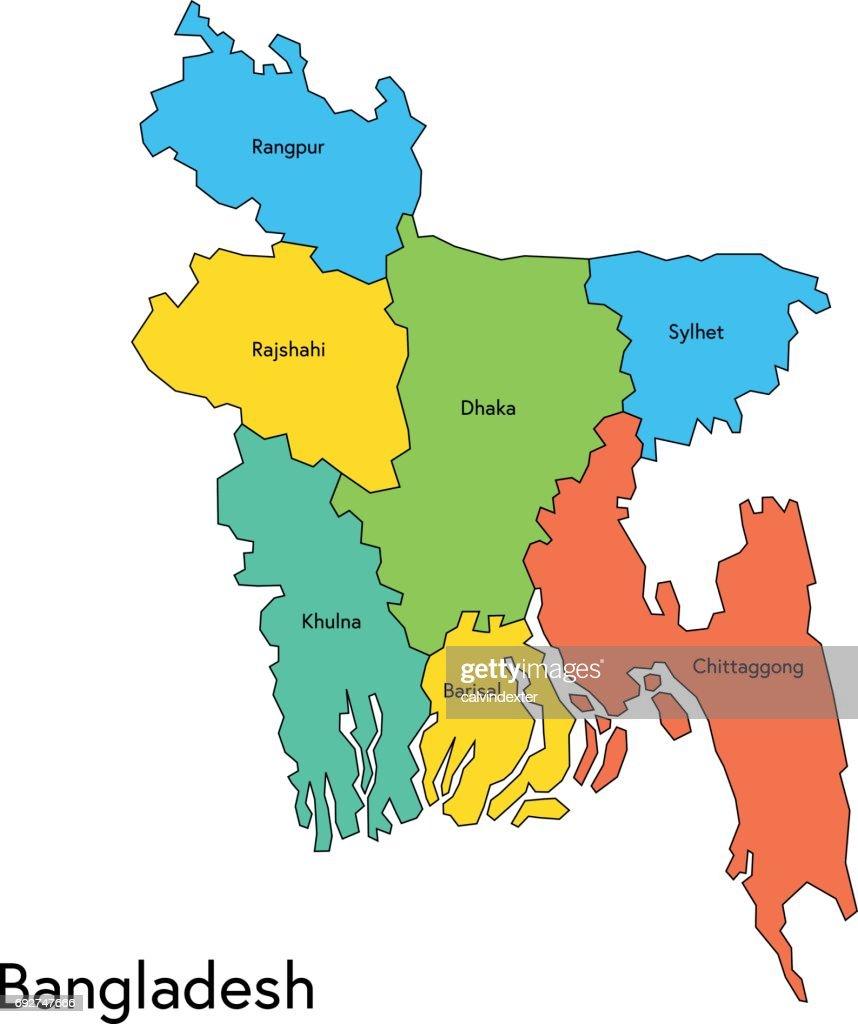 Bangladesh Map With Regions And Names Vector Art Getty Images - Bangladesh map