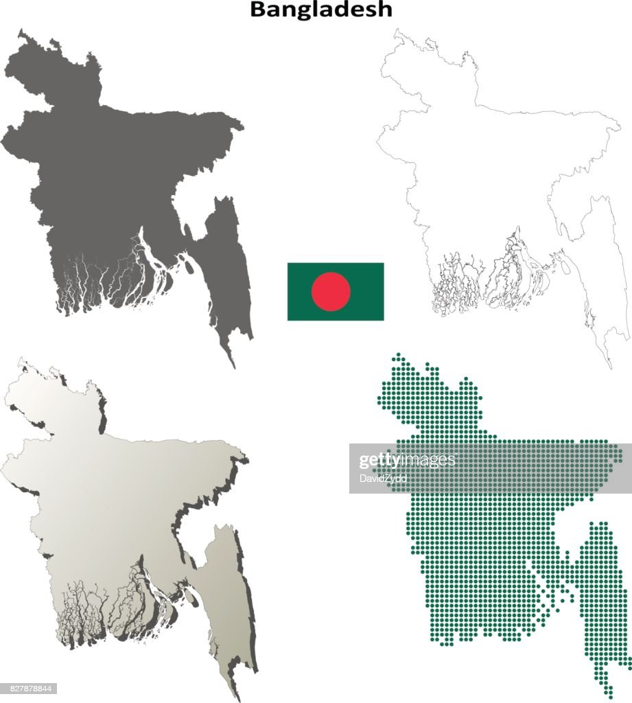 Bangladesh Outline Map Set Vector Art Getty Images