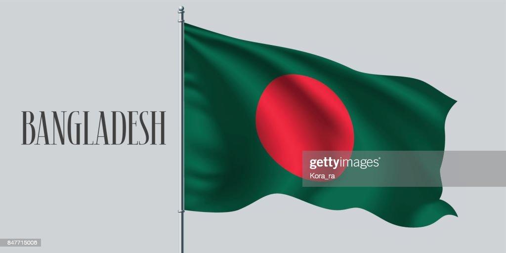 Bangladesh waving flag on flagpole vector illustration