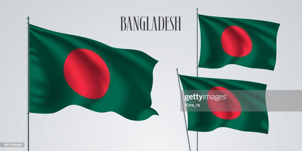 Bangladesh waving flag set of vector illustration