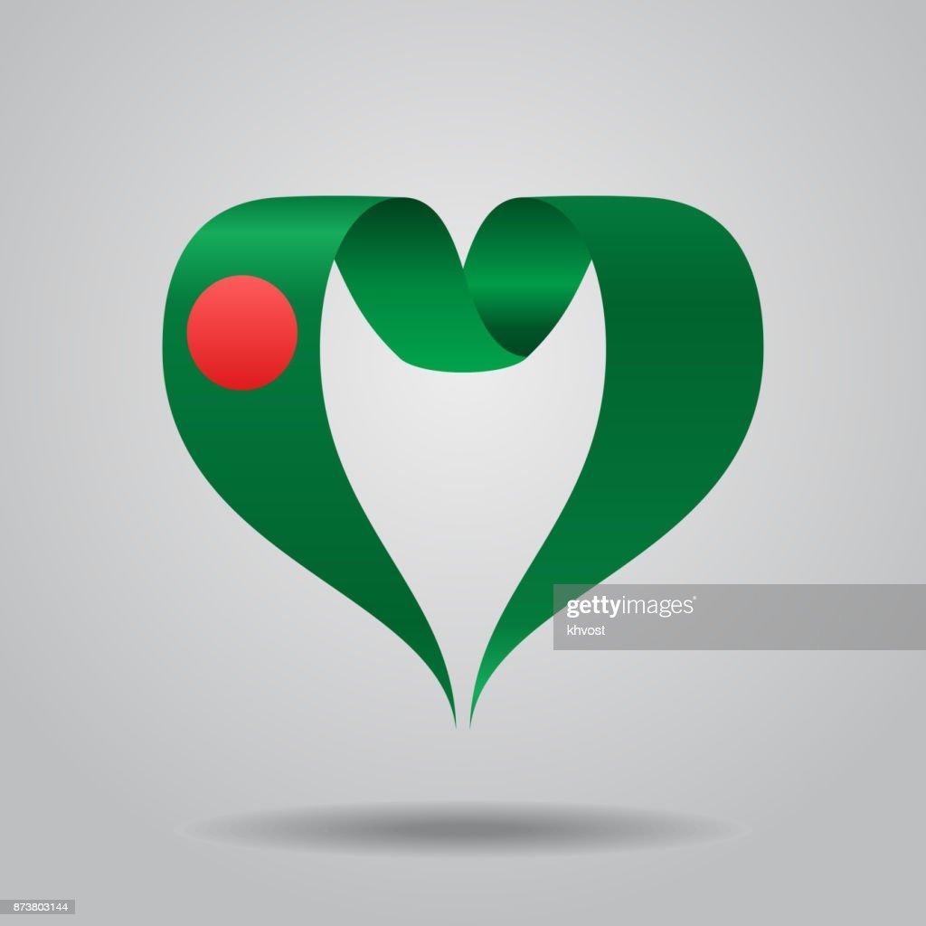 Bangladeshi flag heart-shaped ribbon. Vector illustration.