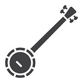 Banjo glyph icon, music and instrument, sound sign vector graphics, a solid pattern on a white background, eps 10.