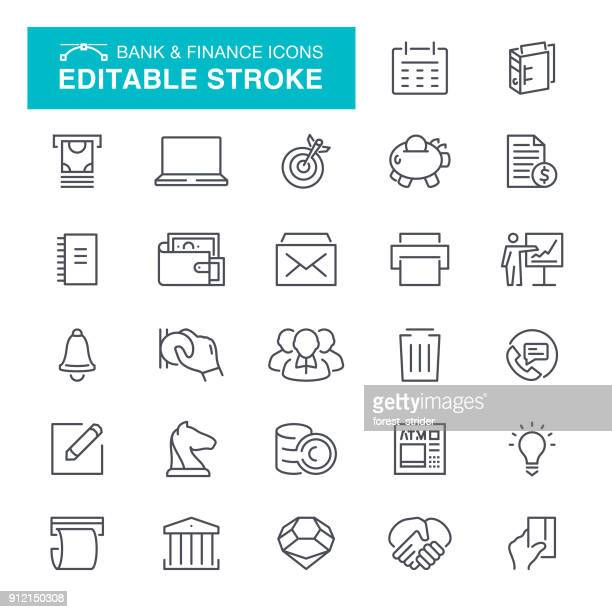 bank abd finance icons editable stroke - cash flow stock illustrations, clip art, cartoons, & icons