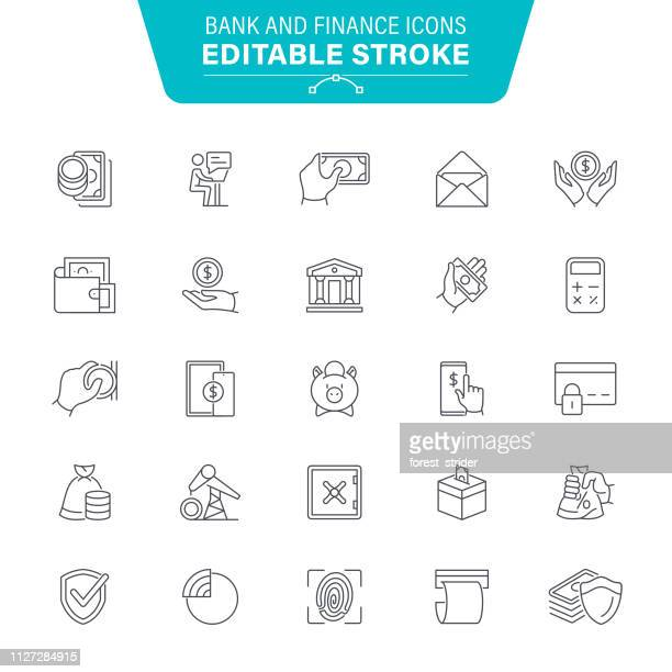 bank and finance line icons - money manager stock illustrations, clip art, cartoons, & icons