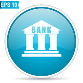 Bank blue glossy round vector icon in eps 10. Editable modern design internet button on white background.