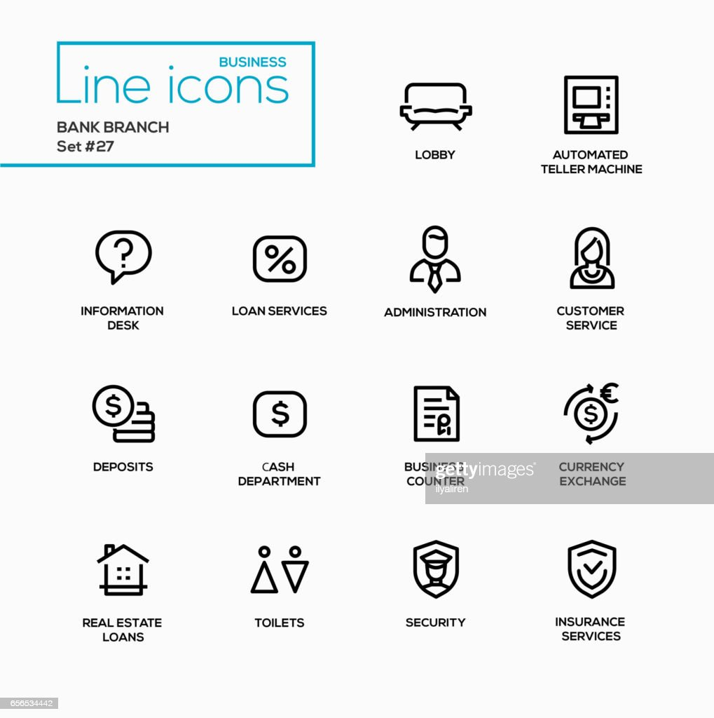 Bank branch - modern vector single line icons set.