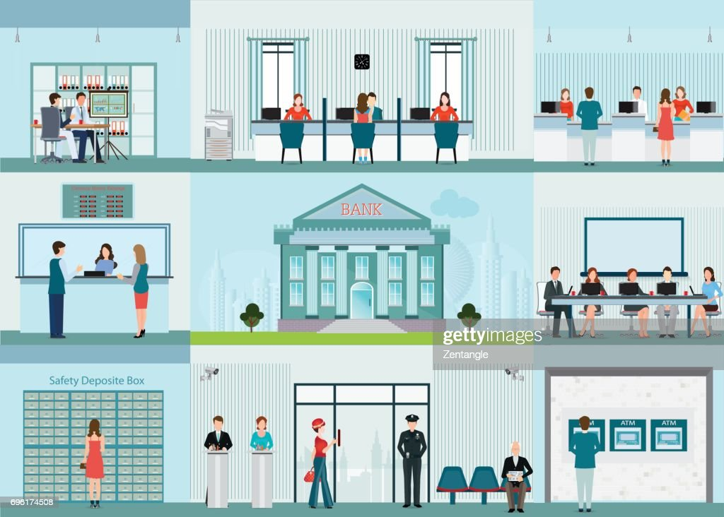 Bank building and finance infographic with office.