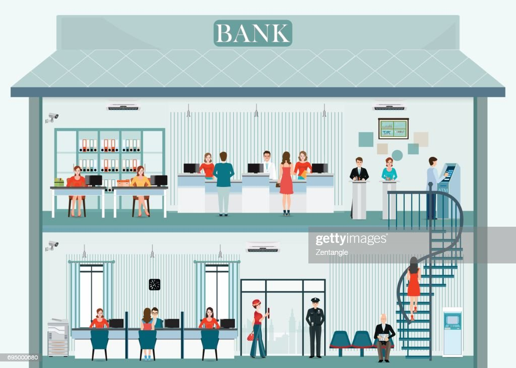 Bank building exterior and interior with counter service.