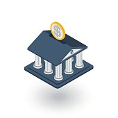 bank building, finance, money savings isometric flat icon. 3d vector