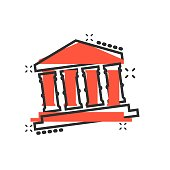 Bank building icon in comic style. Government architecture vector cartoon illustration pictogram. Museum exterior business concept splash effect.