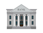 Bank building isolated on white background. Vector illustration. Flat style.