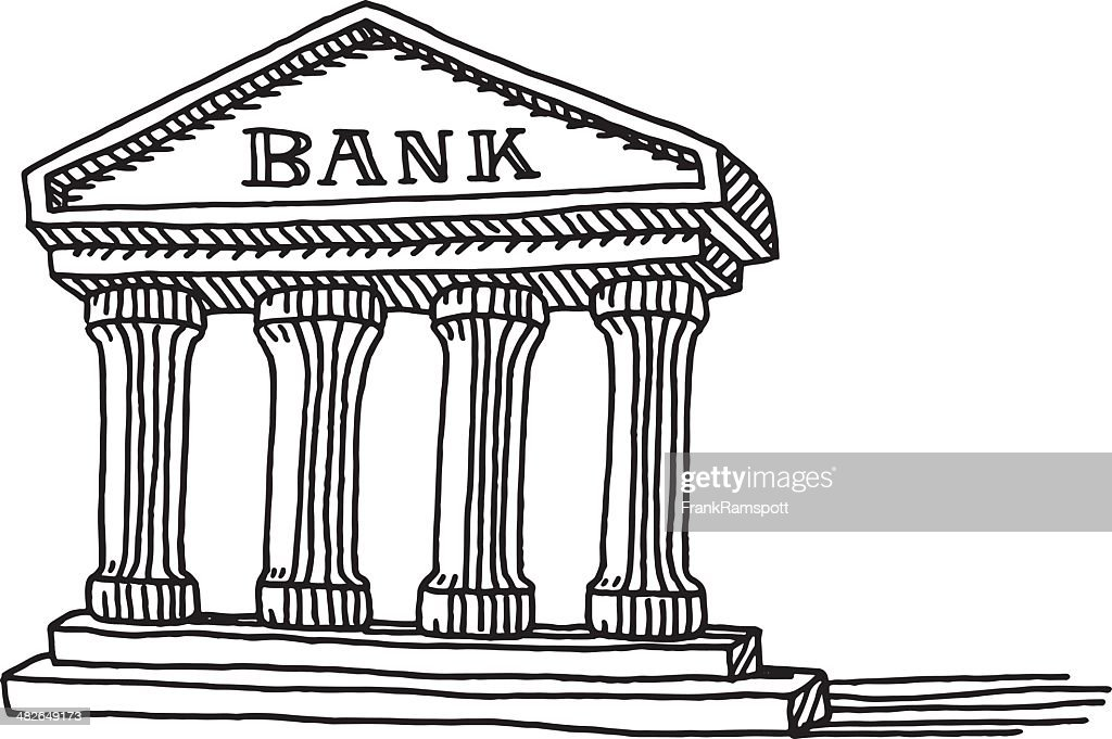 Bank Protection Drawing : Bank building symbol drawing vector art getty images