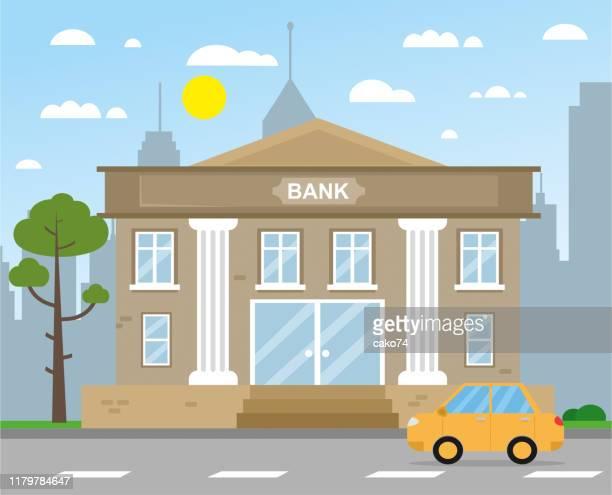 illustrazioni stock, clip art, cartoni animati e icone di tendenza di bank building vector illustration - attività bancaria