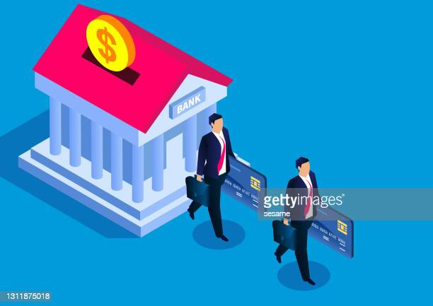 bank business loan, isometric businessman walking out of the bank holding a bank card - mortgage stock illustrations