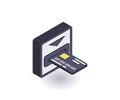 Bank card, ATM icon, vector symbol in flat isometric 3D style isolated on white background.