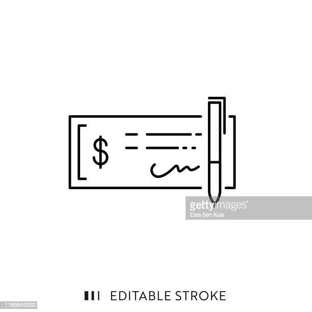ilustraciones, imágenes clip art, dibujos animados e iconos de stock de icono de cheque bancario con trazo editable y píxel perfecto. - firma