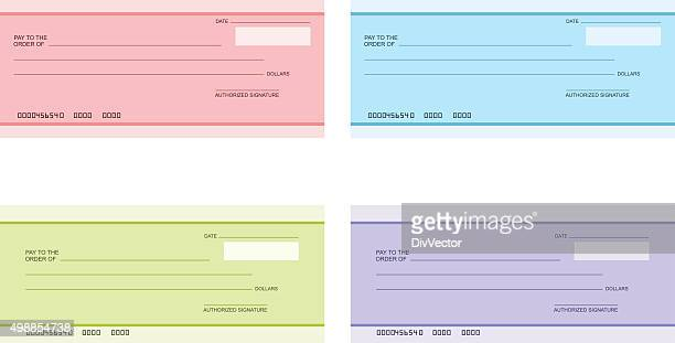 Bank cheque icon set