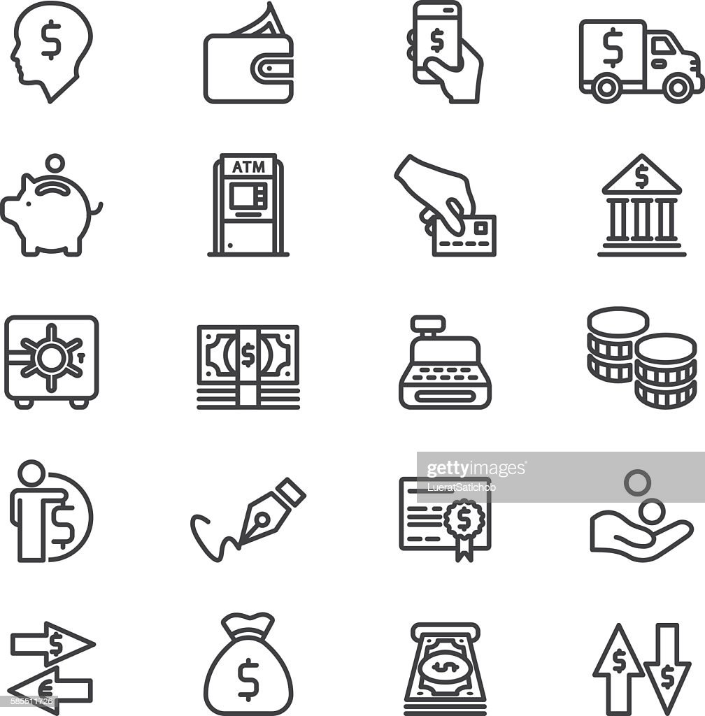 Bank Finance Money & Payment Line icons | EPS10