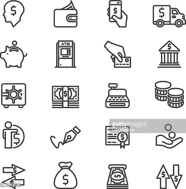 bank finance money & payment line icons | eps10 - greeting card stock illustrations, clip art, cartoons, & icons