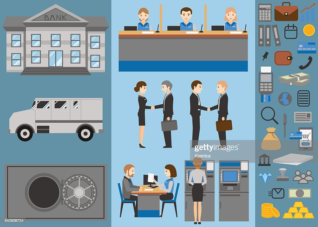 Bank flat icons set. Business people. Banking.