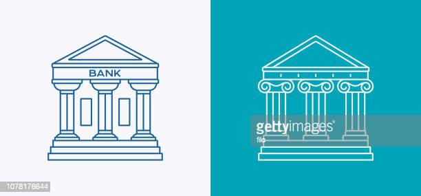 bank government courthouse architecture line icon - classical greek style stock illustrations