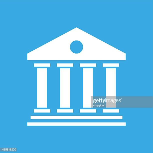 Bank icon on a blue background.