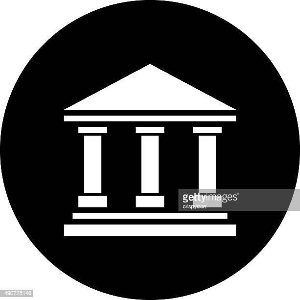 bank-symbol auf eine runde schaltfläche. dimseries - gewerbeimmobilie stock-grafiken, -clipart, -cartoons und -symbole