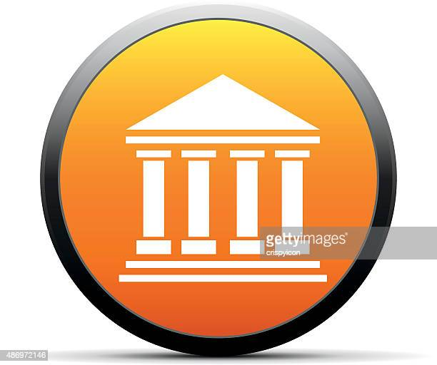 bank icon on a round button. - commercial real estate sign stock illustrations
