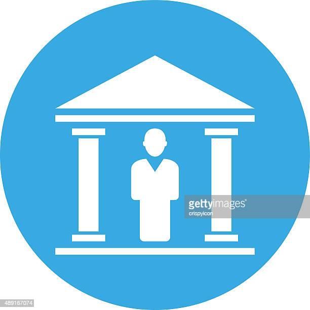 bank-symbol auf eine runde schaltfläche. - gewerbeimmobilie stock-grafiken, -clipart, -cartoons und -symbole