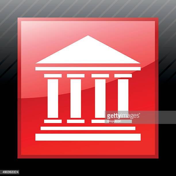 bank-symbol auf einer quadratischen knöpfen. sleekseries - gewerbeimmobilie stock-grafiken, -clipart, -cartoons und -symbole